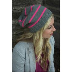 Neon Striped Hat in Plymouth Encore Worsted - F522 | Knitting Patterns | LoveKnitting