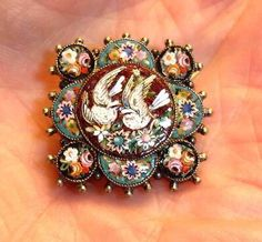 1880's micro mosaic brooch on a gold filled setting with a pair of doves...