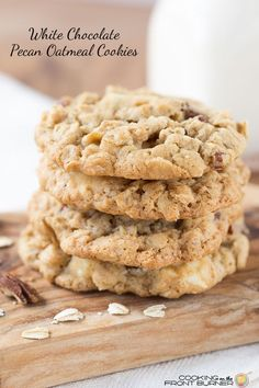 You will love the chewy texture of this White Chocolate Pecan Oatmeal Cookie.  Grab a glass of ice cold milk and you are all set!