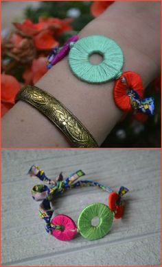 Embroidery Bracelets Ideas another example of washer jewelry with embroidery thread, made into a bracelet! Fabric Jewelry, Boho Jewelry, Jewelry Crafts, Beaded Jewelry, Fashion Jewelry, Jewelry Bracelets, Floss Bracelets, Punk Jewelry, Tribal Jewelry