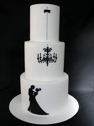 Black and white chandelier silhouette cake...