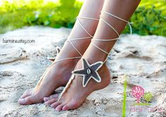 Casamento de praia Starfish Conchas Tan e marfim Crochet noiva Barefoot Sandálias, sapatos nude, jóias pé, sapatos de noiva, Sexy, Yoga, Anklet