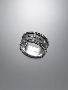 David Yurman Armory® Band ring for men: black diamonds, silver