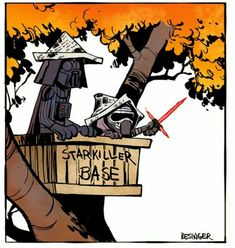 Disney illustrator Brian Kesinger combines Star Wars with Calvin and Hobbes comics for an adorable and amusing art mashup. Star Wars Meme, Star Wars Comics, Star Wars Film, Star Wars Art, Calvin Und Hobbes, Calvin And Hobbes Comics, Darth Vader, Amour Star Wars, Star Wars Personajes