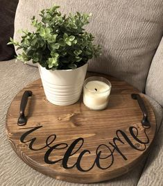 Excited to share this item from my shop: Welcome Wooden Serving Tray, Kitchen Tray, Rustic Decorative Tray, Housewarming Gift, Front Entry Decoration