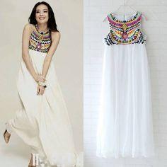 Tribal inspired white dress