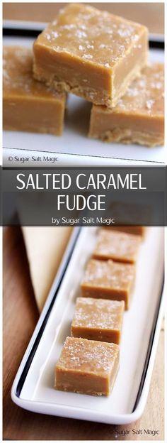 Salted Caramel Fudge. Smooth & creamy, easy to make caramel fudge with a sea salt topping via @sugarsaltmagic