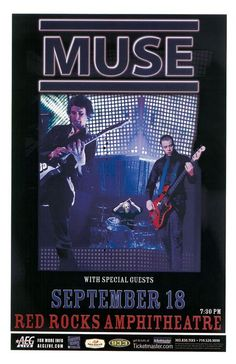 Concert poster for Muse live at Red Rocks in Morrison, CO in 2007.  11 x 17 inches.