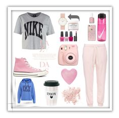 """Sweatpants Sunday : Pink Trackies"" by laras03 ❤ liked on Polyvore featuring NIKE, Bare Escentuals, Ivy Park, OPI, Le Métier de Beauté, Skinnydip, Converse, Essie, Herbivore and sweatpants"