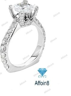 14K White Gold Over Round Cut 925 Silver D/VVS1 Diamond Women's Engagement Ring #Affoin8 #SolitairewithAccents