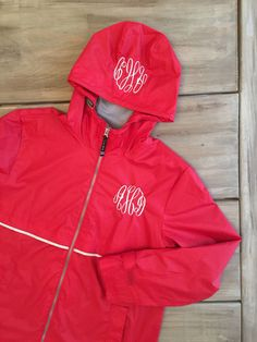 A personal favorite from my Etsy shop https://www.etsy.com/listing/269810735/monogrammed-rain-jacket-charles-river
