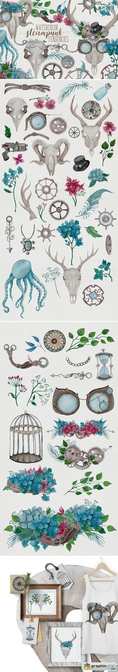 Watercolor Steampunk Graphics  stock images