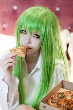 C.C. | CODE GEASS Lelouch of the Rebellion, this one is funny coz everyone knows C.C lives for pizza!
