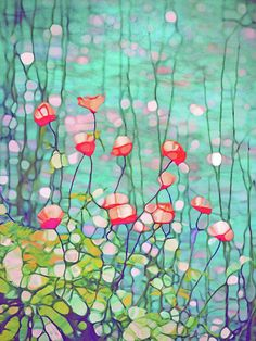 Flower Digital Art - The Poppies by Tara Turner Alcohol Ink Painting, Alcohol Ink Art, Watercolor Flowers, Watercolor Paintings, Art Plastique, Flower Art, Art Projects, Glass Art, Poppies