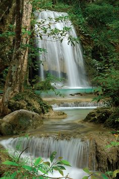 Seven Step Waterfall In Monsoon Forest, Erawan National Park, Thailand - Canvas Print