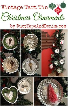 Vintage Tart Tin Christmas Ornaments, fun crafts idea with thrift store finds.  More DIY projects on DuctTapeAndDenim.com