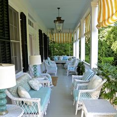 love the yellow and white. so many people do black and white and this is refreshing Outdoor Seating, Outdoor Spaces, Outdoor Living, Outdoor Decor, Beautiful Interiors, Beautiful Homes, Old Southern Plantations, Porch Gazebo, Porch Lamp