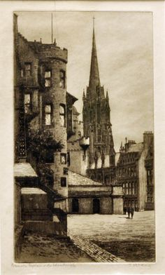 Antique Etching Of Paderborn Town Hall Germany Signed