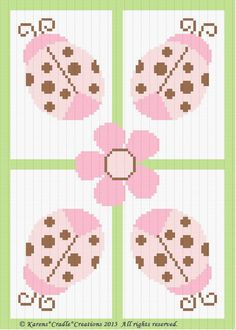 Crochet Pattern - LADYBUGS AND DAISY Color Graph/Chart Baby Afghan Pattern #KarensCradleCreations