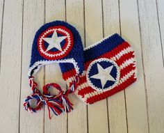 Check out this item in my Etsy shop https://www.etsy.com/listing/220384136/captain-america-crochet-set-newborn