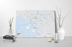 Gallery Wrapped Map Canvas of Osaka Japan - Subtle Ski Map
