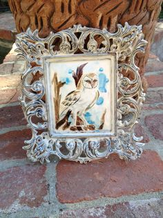 Ceramic Owl Painting Ceramic Framed Hand Made in Mexico by Trouvaillestore on Etsy