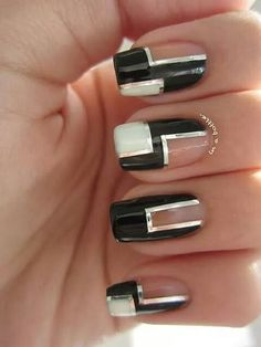 I think I'll practice doing this nail art tonight. Get Nails, Fancy Nails, Love Nails, How To Do Nails, Hair And Nails, Chic Nails, Fabulous Nails, Gorgeous Nails, Pretty Nails