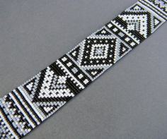 Monochrome beadwoven bracelet ethnic style beaded by Anabel27shop, $50.00