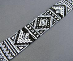 Monochrome beadwoven bracelet ethnic style beaded by Anabel27shop, $50.00