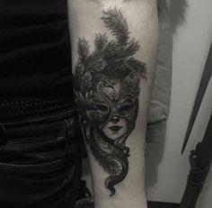 Dark venetian mask tattoo by Imperial Tattoo. 30 Lovely Venetian Mask Tattoos to Celebrate Carnival #blogpost #mustread #tattooforaweek #mask #carnival #venetian
