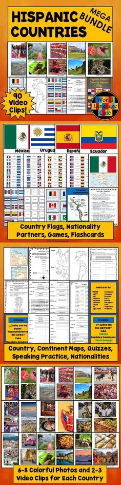 Want Hispanic culture for your Spanish class for the whole year? Get colorful photos, interesting facts, flags, map quizzes, nationality practice, short video clips, and so much more. Perfect for teaching your students about the 21 Spanish speaking countries! Students love these resources because they make Spanish come alive in your classroom. - World Language Cafe #spanishfacts