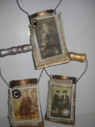 Love this idea with vintage photos! Antique Recycled Favor Pouches