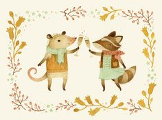 cheers! from pinknose the opossum & riley the raccoon...
