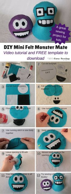 DIY mini felt monster mate tutorial and free template to download! This is a great and easy sewing project for kids!