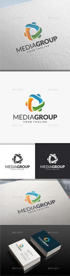 Media Group Logo: Abstract Logo Design Template created by yopie. Logo Design Template, Logo Templates, Clover Logo, Communication, Portfolio Logo, Service Logo, Triangle Logo, Font Names, Text Fonts