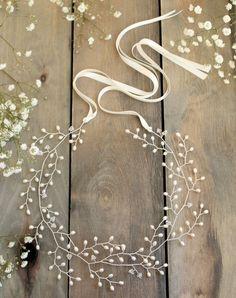 Bridal hair vine wedding headpiece forehead by JoannaReedBridal