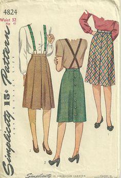 Simplicity 4824 1940s Misses Box Pleated Skirt Suspenders - Womens Vintage Sewing Pattern