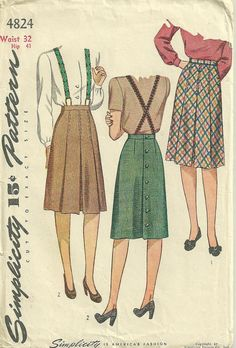 Simplicity 4824 1940s Misses Box Pleated Skirt Suspenders - Womens Vintage Sewing Pattern