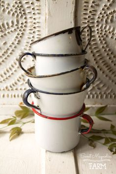 Instant collection of Vintage Enamelware cups ~ Camp ~ Cabin ~ Farmhouse Style ~ now in our Etsy Shop