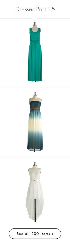 """Dresses Part 15"" by ilovecats-886 ❤ liked on Polyvore featuring dresses, modcloth, green day dress, lining dress, rayon dress, blue dress, green summer dress, maxi dress, vestidos and ombre"