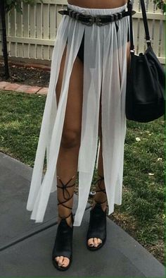 Shredded sheet skirt Coachella (Try American apparel sheer maxi or amazon)
