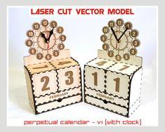 Gracias por visitar nuestra tienda. Venta es calendario perpetuo con reloj - v1 (sólo el modelo de vector de corte láser). Conjunto de patrones 1: Crear de madera contrachapada de 3,2 mm (1/8 pulgadas.)--modelo de vectores de corte del Laser Producto digital incluye AI, EPS, CDR,