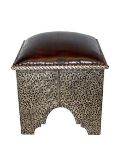 61% OFF Badia Design Silver Metal & Leather Ottoman, Silver/Brown