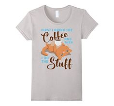 funny cat coffee mug - Womens Funny cat with coffee mug shirt Medium Silver -- You can get additional details at the image link. (This is an affiliate link) #FunnyCats