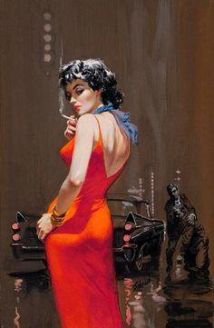 Cigarro / 'A Gem of Murder' pulp art by Harry Schaare, Pulp Fiction Art, Pulp Art, Retro Art, Vintage Art, Serpieri, Fabian Perez, Robert Mcginnis, Pin Up Art, Anime Comics