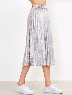 Silver Pleated Velvet Skirt