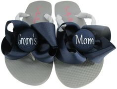 89e0fa8aa9955 Gray Silver Wedding Flip Flops for the Groom s Mom- choose Bows  amp  colors  Wedding
