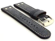This strap is made of suede genuine leather. It is double-riveted what together with its shape makes it look as classic military watch strap in Aviator style. The strap is nice and soft in touch and comes with brushed silver-coloured stainless steel buckle.