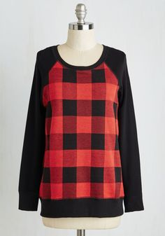 Afternoon Errands Top - Red, Black, Plaid, Print, Casual, 90s, Long Sleeve, Fall, Winter, Knit, Good, Variation, Scoop