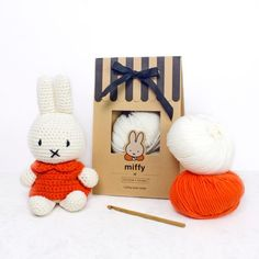 Classic Miffy Amigurumi Crochet Kit - Kit includes crochet pattern, hook, yarn and instructions to make the perfect crochet Miffy toy for yourself or a loved one. Crochet Diy, Learn To Crochet, Crochet Hooks, Crochet Stitch, Crochet Ideas, Toy Craft, Craft Kits, Craft Ideas, Miffy